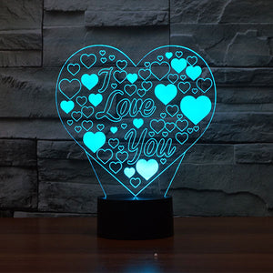 Romantic Heart Shape Colorful 3D Led Lamp - Goamiroo Store