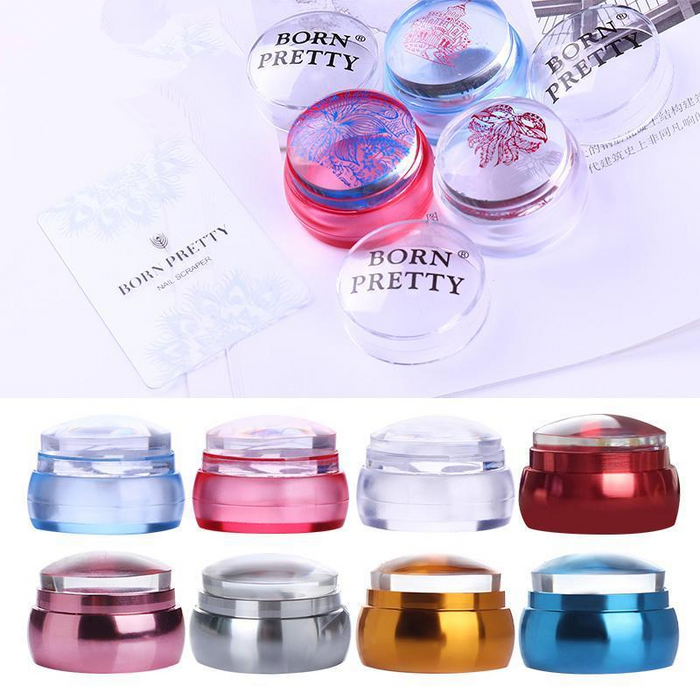 Clear Chess Silicone Nail Stamper with Scraper Colorful Handle Jelly Nail Stamper Manicure Stamp Template