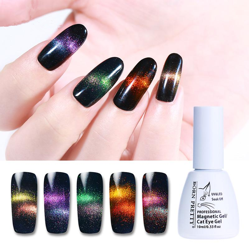 Holographic Chameleon Cat Eye Nail Gel Polish Magnetic Soak Off UV Gel  Manicure Nail Varnish Black Base Needed