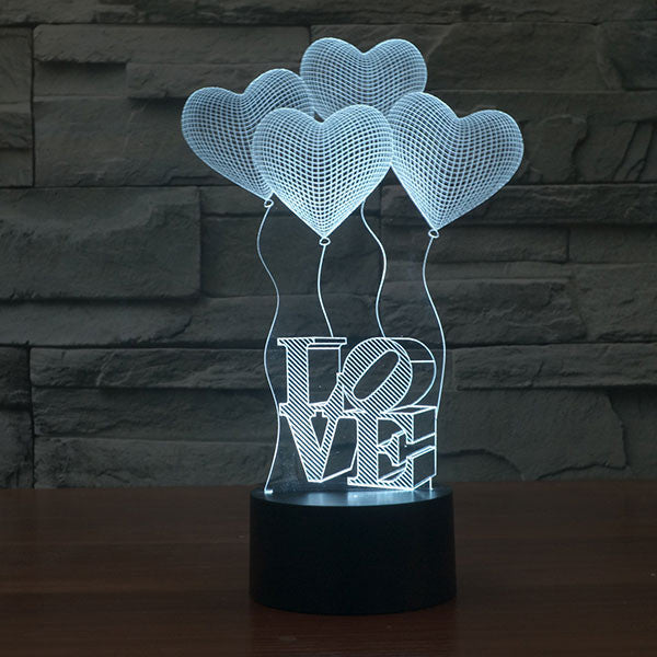 Four Love Ballons Colorful 3D LED Lamp-GoAmiroo Store
