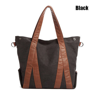 Oversized Canvas Leather Trim Tote - 3 Styles - Goamiroo Store