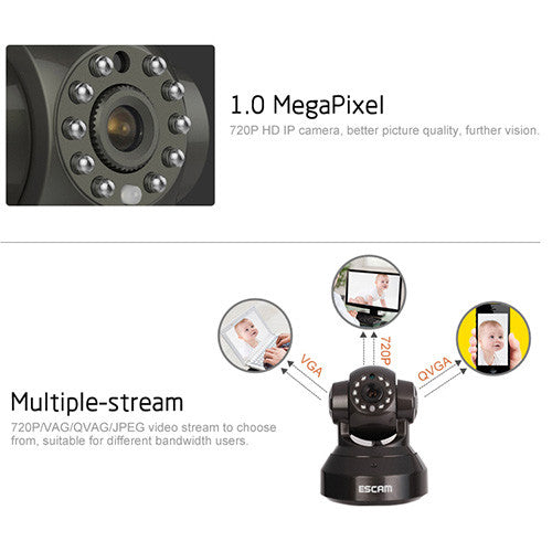 ESCAM Pearl QF100 1MP Wi-Fi Security IP Camera-GoAmiroo Store
