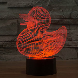 Duck Pattern Colorful 3D Led Lamp - Goamiroo Store