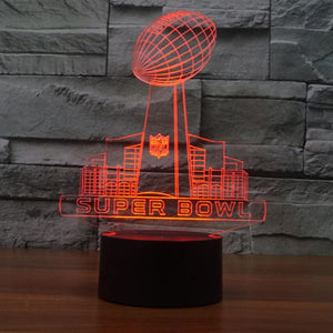 Super Bowl Pattern Colorful 3D Led Lamp - Goamiroo Store