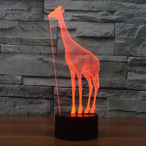 Giraffe Pattern Colorful 3D Led Lamp - Goamiroo Store