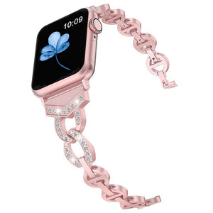 Diamond Stainless Steel strap For Apple Watch band 38mm 40mm 42mm 44mm Rhinestone Wristband Women Lady Replacement Wrist Strap