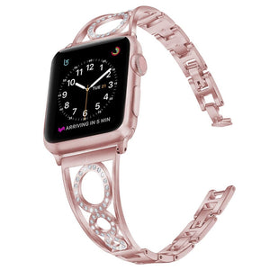 3 O-Shaped Luxury Diamond Strap for Apple Watch Round Circle for iwatch 40mm 38mm Watchband Bling Stainless Steel Women Bracelet
