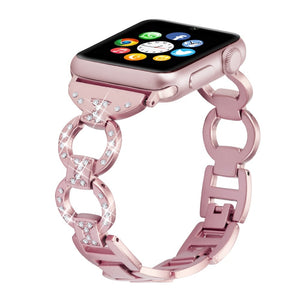 Bling Band For Apple Watch Band Diamond Rhinestone Stainless Steel Metal Strap For iWatch 4/3/2/1 Bracelet Wristband Strap Lady