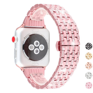 Stylish Crystal Diamond strap for Apple Watch band 38mm 42mm 40 44mm stainless steel Replacement Bands for iWatch series 1 2 3 4