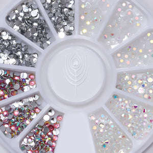 1 Box Multi Color Nail Art Studs Resin Nail Rhinestones Shinny Jelly 3D Decorations in Wheel Manicure-GoAmiroo Store
