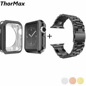 Thormax 316L Stainless Steel Watchband Link Buckle With Soft Tpu Case Bracelet Band For Apple Watch 38/42Mm Series 1/2/3 - Goamiroo Store