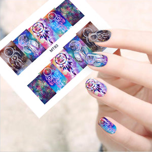 1 Big Sheet Dream Catcher Series Nail Water Decal Feather Transfer Sticker Manicure DIY 12 Patterns/Lot-GoAmiroo Store