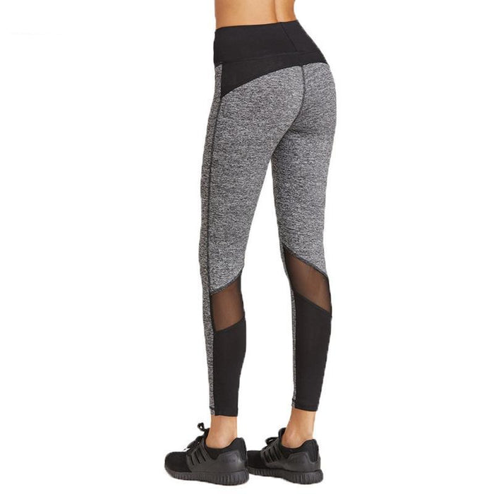 Women Elastic High Waist Running Pants Mesh Patchwork Sport