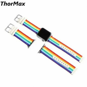Thormax Rainbow Watchband For Apple Watch Woven Oxford And Genuine Leather Replacement Band 38Mm 42Mm - Goamiroo Store