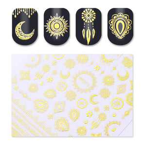 1 Sheet Ultrathin 3D Nail Stickers Star/Moon Image Transfer Decal Gold Color 10.3*8cm Adhesives-GoAmiroo Store