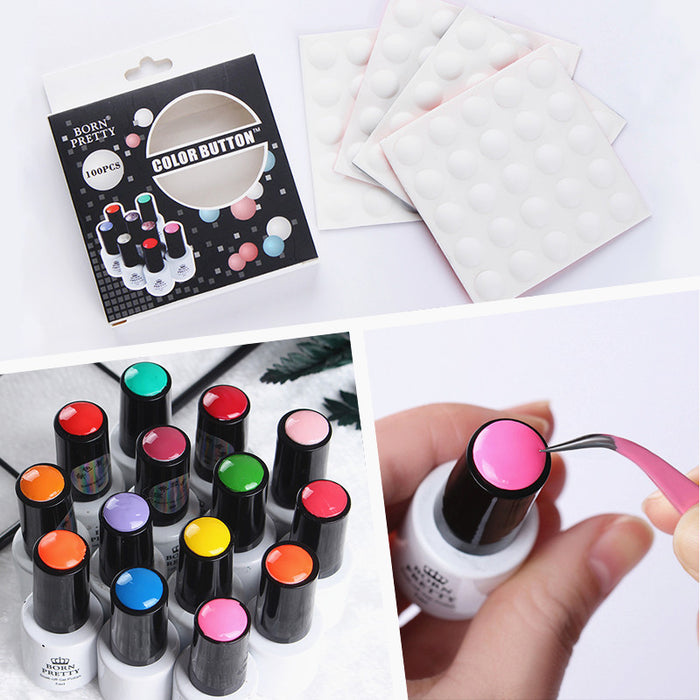 100Pcs White Silicone Label Sticker Gel Polish Color Button UV Gel Color Adhesive Paster Manicure