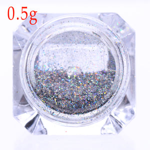 Holographic Rainbow Nail Glitter Flakes 0.5G Laser Super Shine Pigment Powder Dust Manicure - Goamiroo Store