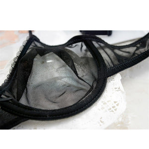 Black Sexy Bra Set Transparent Brassiere Gauze See Through Bra Underwear Sets For Women Strap Erotic Lingerie Hollow Out - Goamiroo Store