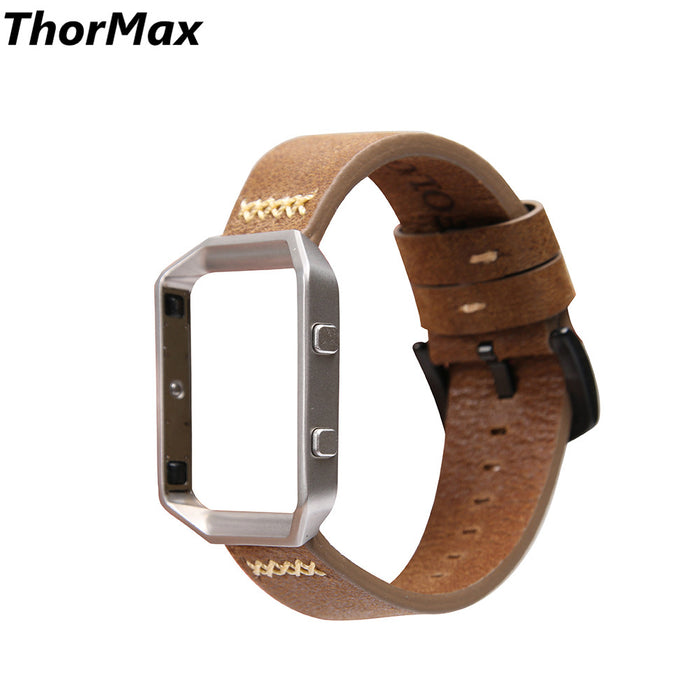 ThorMax for Fitbit Blaze with Stainless Steel Frame Genuine Leather strap Western Cowboy style Replacement watchband bracelet