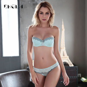 New Young Half Cup Bra Set Plus Size D E Cup Plunge Thin Womens Bras Sexy Lace Underwear Sets Black Cotton Embroidery Brassiere - Goamiroo