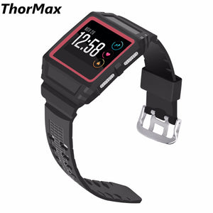 Thormax For Fitbit Ionic Double-Color Watch Case Silicone Frame Scratch-Resistant Flexible Case Protective Cover Men/women - Goamiroo Store