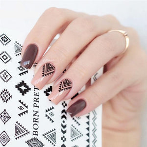 2 Patterns/Sheet Triangle Diamond Shape Nail Art Water Decals Transfer Sticker-GoAmiroo Store