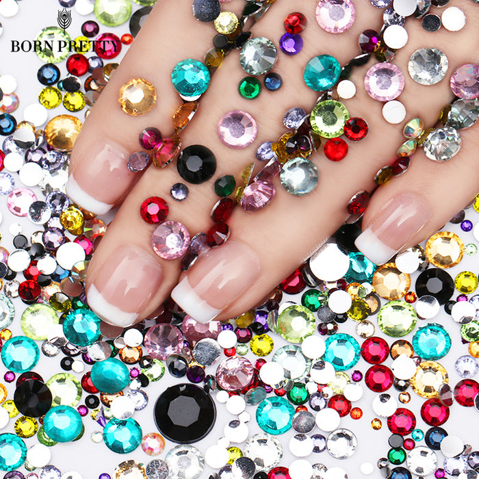 2000Pcs Nail Rhinestones Colorful Crystal Mixed Size Nail Studs Manicures 1 Bag