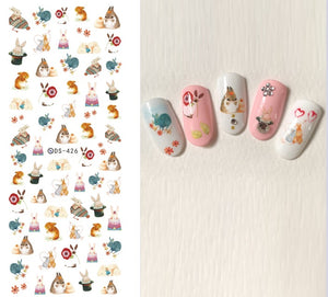 Flamingo Unicorn Nail Stickers Animal Series Water Decal Ocean Cat Plant Pattern 3D Manicure Sticker - Goamiroo Store
