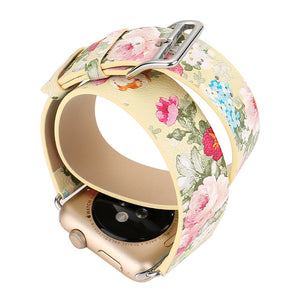 Thormax Double Wrap For Apple Watch Pastoral Style Flower Design Printing Strap Leather Replacement Band Bracelet Watchband - Goamiroo Store