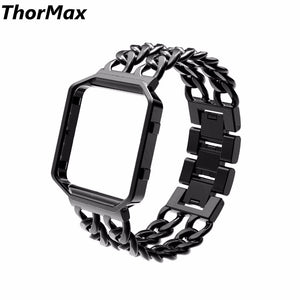 Thormax For Fitbit Blaze Band Solid Stainless Steel Replacement Strap Watchband Folding Clasp With Metal Frame - Goamiroo Store
