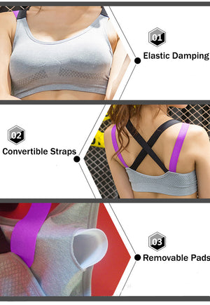 Women Seamless Sports Bra Convertible Straps Shakeproof Fitness Underwear - Goamiroo Store