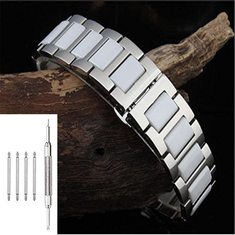 Stainless Steel With Ceramic For Samsung Gear S3 Frontier Classic Double Side Strap Only Watch Band Replacement Bracelet Folding Buckle 22mm