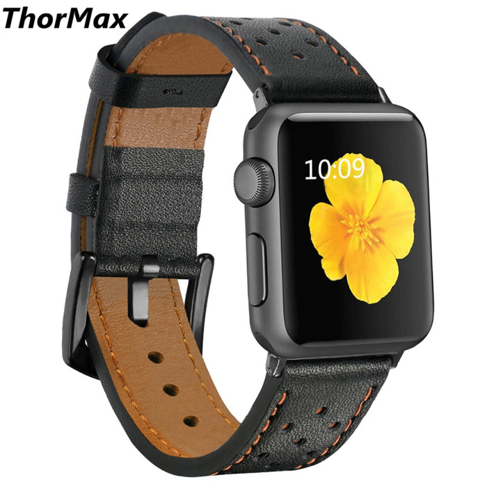 ThorMax 100% Genuine Leather for Apple Watch Band Strap for iwatch Series 3 2 1 Black Brown Spots 42MM 38MM