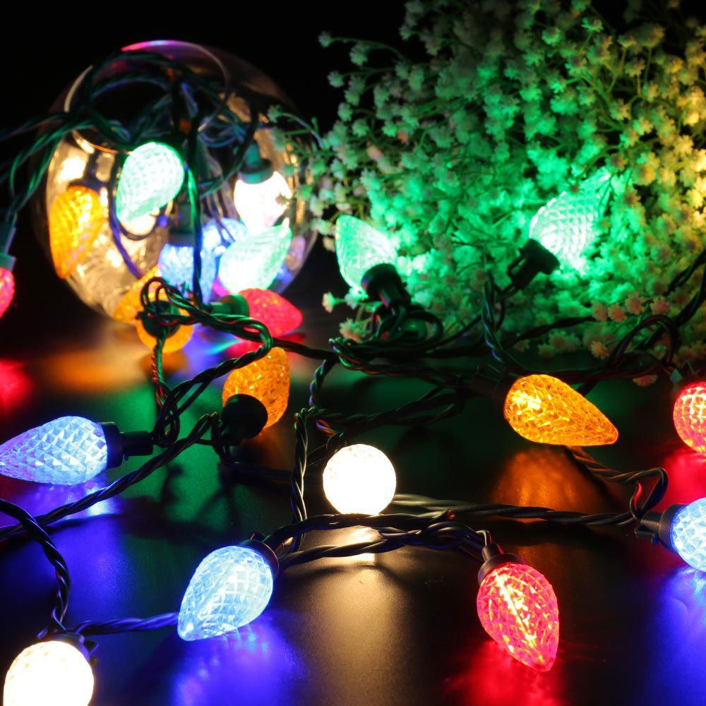 Faceted C9 Led Christmas Lights 25 Led 16ft Fairy Decorative String Lights