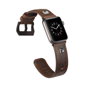 Genuine Leather Punk Series Skull Shield Cross Pattern Bracelet For Apple Watch Series 1/2/3 Watchband Replacement Strap 38/42Mm - Goamiroo