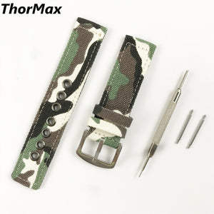 Thormax For Samsung Gear S3 22Mm Camouflage Canvas Sport Watchband Men/women Replacement Strap - Goamiroo Store