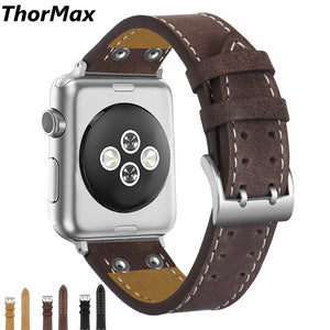 Thormax 100% Genuine Leather Rivets For Apple Watch Band Strap For Iwatch Series 3 2 1 Black 42Mm 38Mm - Goamiroo Store
