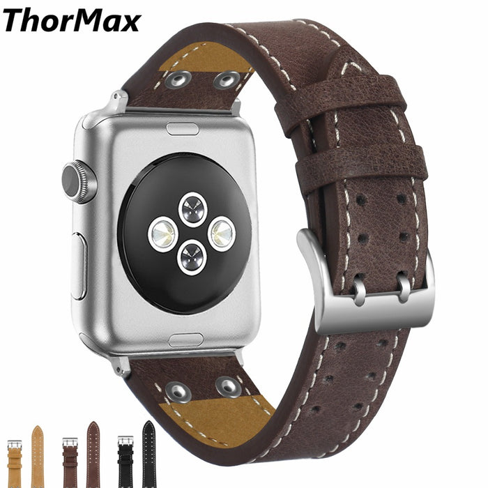 ThorMax 100% Genuine Leather Rivets for Apple Watch Band Strap for iwatch Series 3 2 1 Black 42MM 38MM