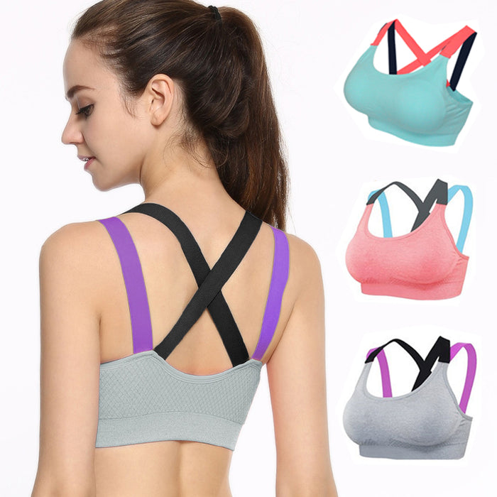 Sexy Women Shockproof Running Vest, Quick Dry Push Up Padded Sports Bras