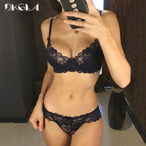 Hollow Sexy Bra Ultrathin Underwear Set Plus Size C D Cup Women Transparent Bra Sets Lace Embroidery Lingerie Gray Brassiere - Goamiroo