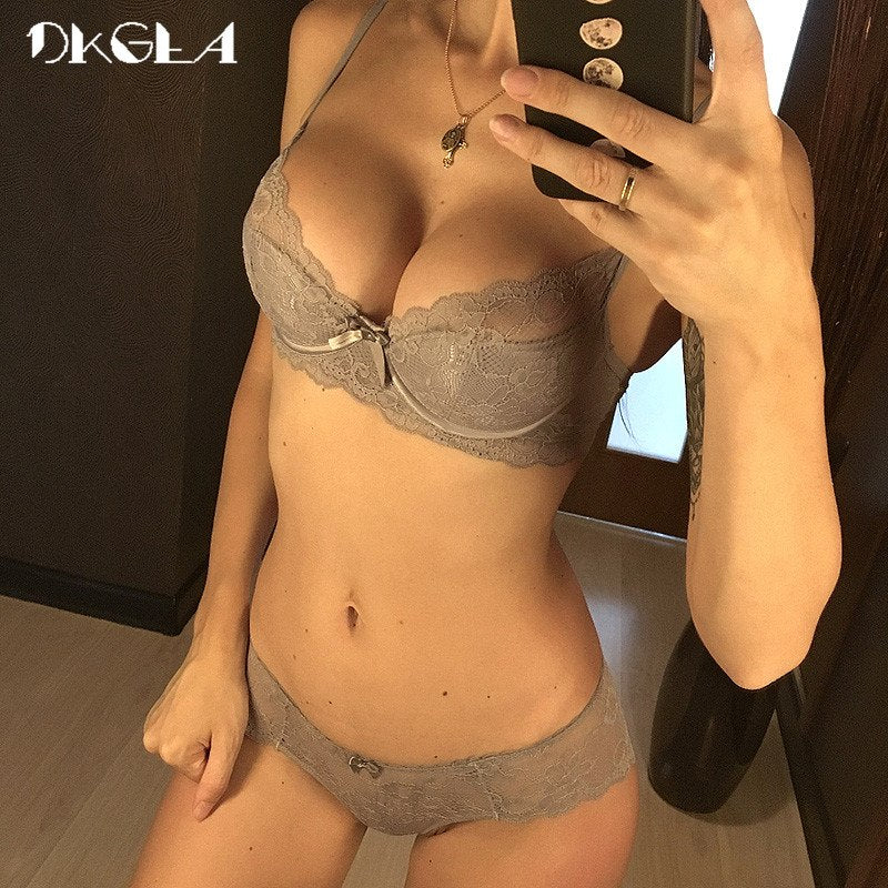 310dfa1991 New Hot Gray Sexy Underwear Women Set Thin Cotton Comfortable Brassiere  Lace Bra Sets 34 36 38 Black Embroidery Lingerie set