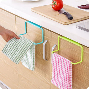 1Pc Over Door Tea Towel Holder Rack Rail Cupboard Hanger Bar Hook-GoAmiroo Store
