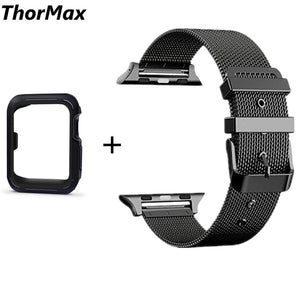 Thormax Stainless Steel Bracelet Strap Band With Tpu Case Cover For Apple Watch Series 1/2 Series 3 With Classic Buckle 38/42Mm - Goamiroo