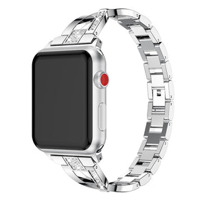 Thomax X-Lines Shiny Diamond Bracelet Link Buckle Stainless Steel Strap Watchband For Apple Watch 38/42Mm Series 1/2/3 Black - Goamiroo
