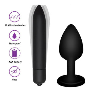 Crystal Jewelry Butt Plug Massager Silicone Dildo Vibrator Anal Plug Gay Sex Toy 10 Speeds Vibrator Sex Toys For Women - Goamiroo Store