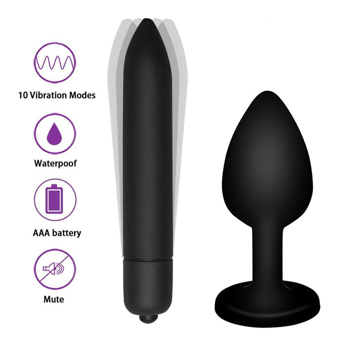 Crystal Jewelry Butt Plug Massager Silicone Dildo Vibrator Anal Plug Gay Sex Toy 10 Speeds Vibrator Sex Toys For Women