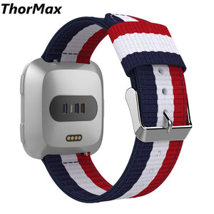 Thormax Fitbit Versa Band Fine Woven Nylon Adjustable Replacement Band Sport Strap For Fitbit Versa Fitness Wristband - Goamiroo Store