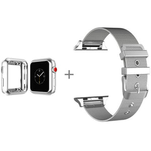 Stainless Steel Bracelet Strap Band With Tpu Case Cover For Apple Watch Series 1/2 Series 3 With Classic Buckle 38/42Mm - Goamiroo Store