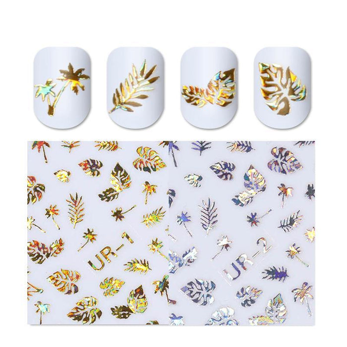 1pc 3D Nail Sticker Holographic Gold Metallic Adhesive Transfer Decals Coconut Tree Leaf Manicure Stickerss