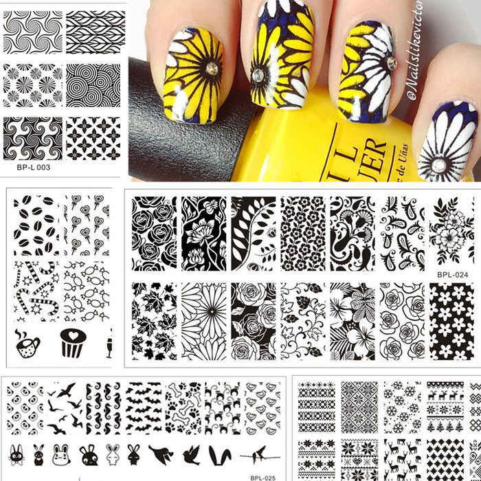 Nail Stamping Plates Lace Flower Animal Pattern Nail Art Stamp ...